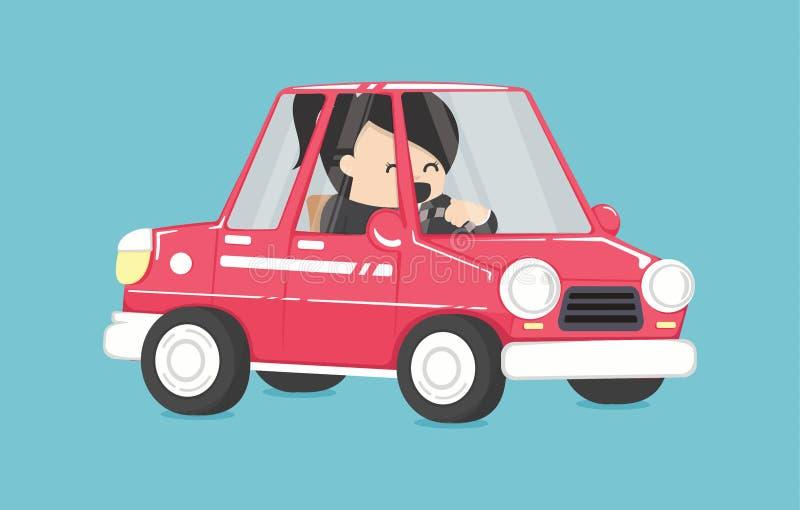 Mujer de negocios que conduce, mujer de negocios en el coche al diseño de trabajo libre illustration