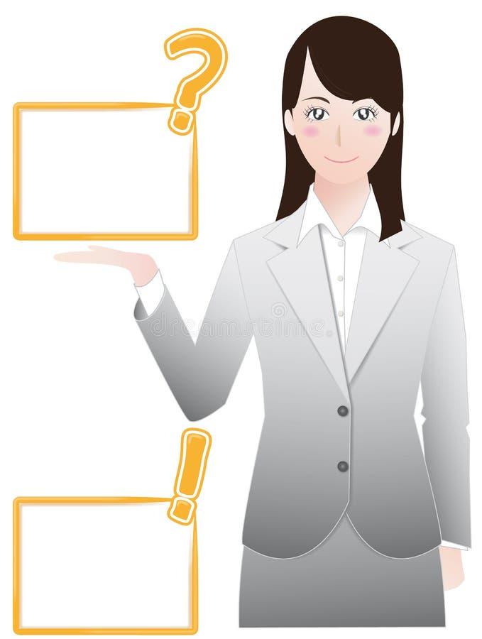 Mujer de negocios que da una explicación ilustración del vector