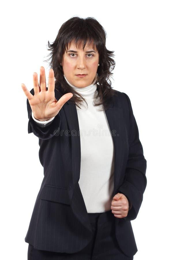 Mujer de negocios que dice la parada fotos de archivo libres de regalías
