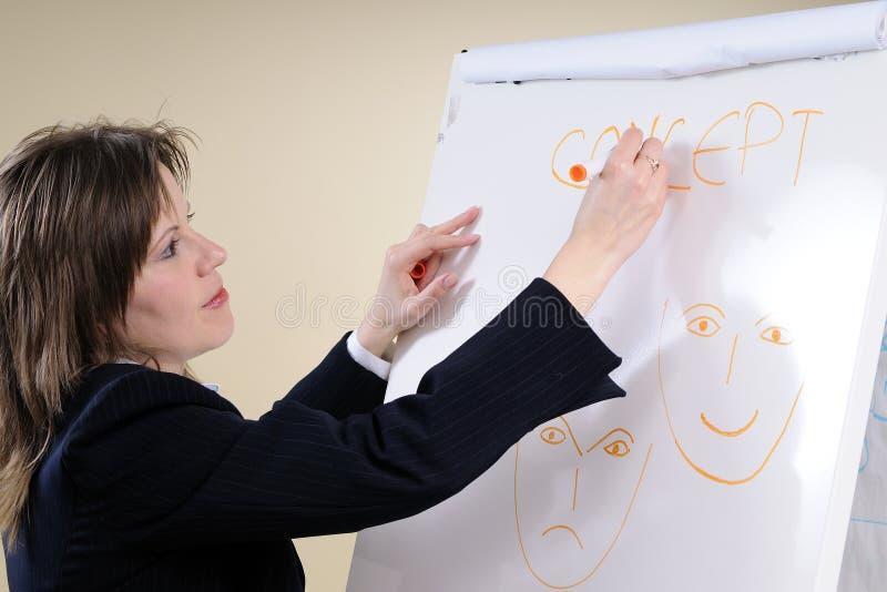 Mujer de negocios que escribe conceptos tristes felices foto de archivo