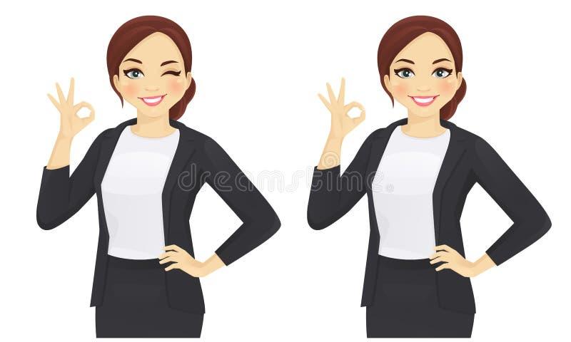 Mujer de negocios que gesticula muy bien stock de ilustración