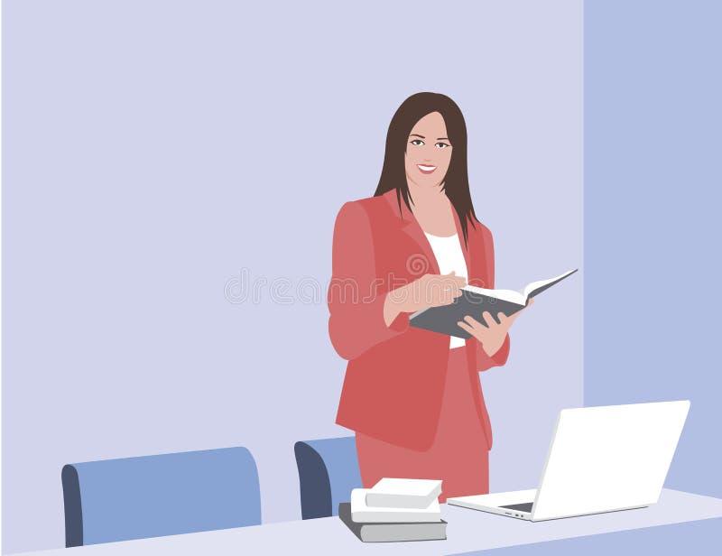 Mujer de negocios que lee un libro Una mujer de negocios se coloca con un libro en sus manos La mujer hace una presentación Illus stock de ilustración