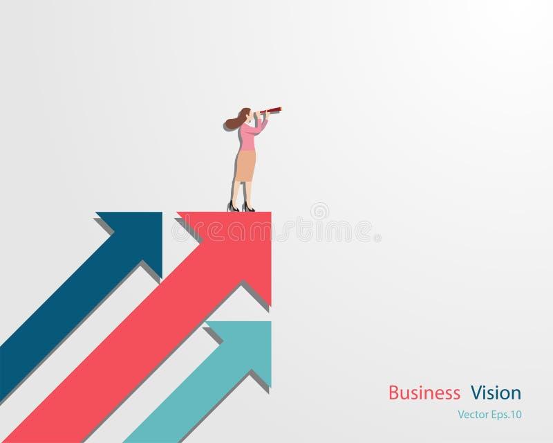 Mujer de negocios que lleva a cabo la situaci?n binocular en la flecha que mira para arriba a la meta del ?xito ilustración del vector