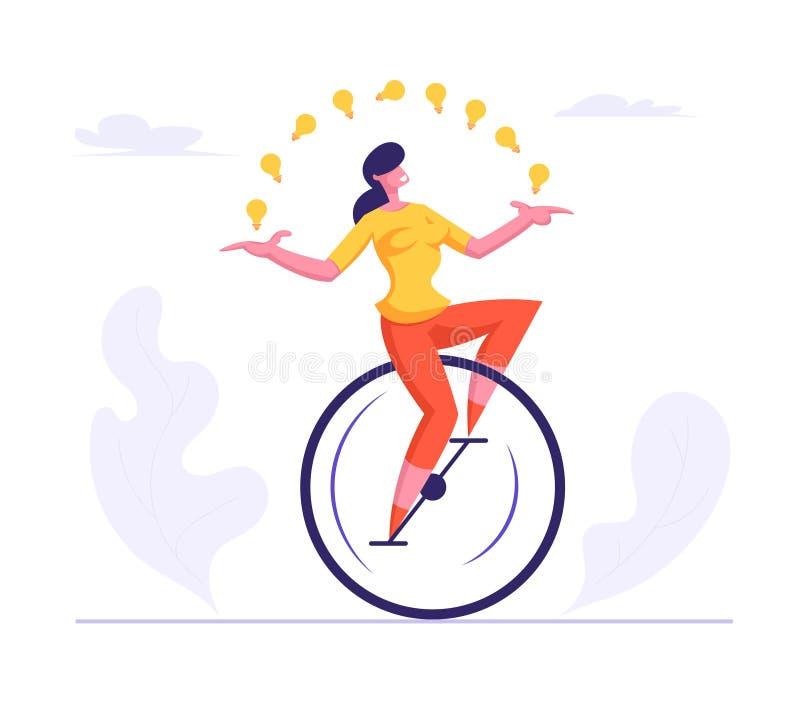 Mujer de negocios que lleva el montar a caballo casual Monowheel del traje que hace juegos malabares con las bombillas que brilla ilustración del vector