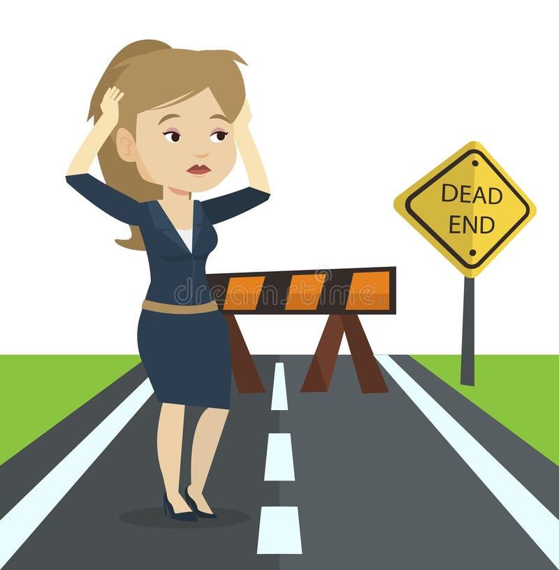 Mujer de negocios que mira el callejón sin salida de la señal de tráfico stock de ilustración
