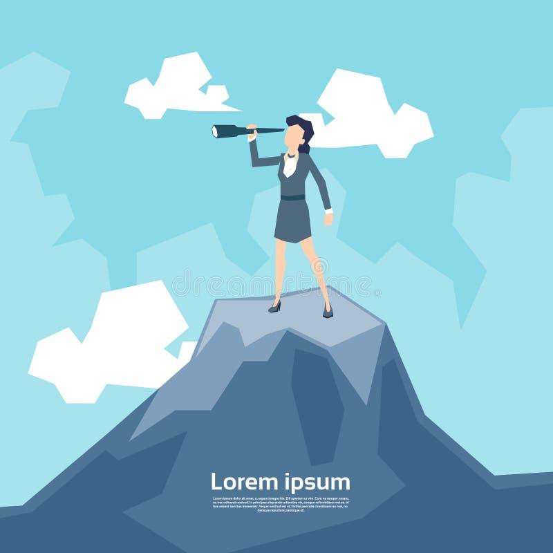 Mujer de negocios que mira a través del telescopio que se coloca en la montaña superior stock de ilustración