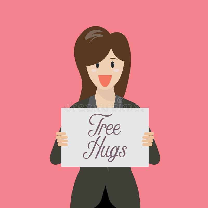 Mujer de negocios que muestra la muestra libre del abrazo libre illustration