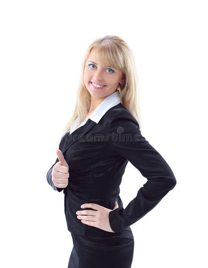 mujer de negocios que muestra los pulgares para arriba fotos de archivo