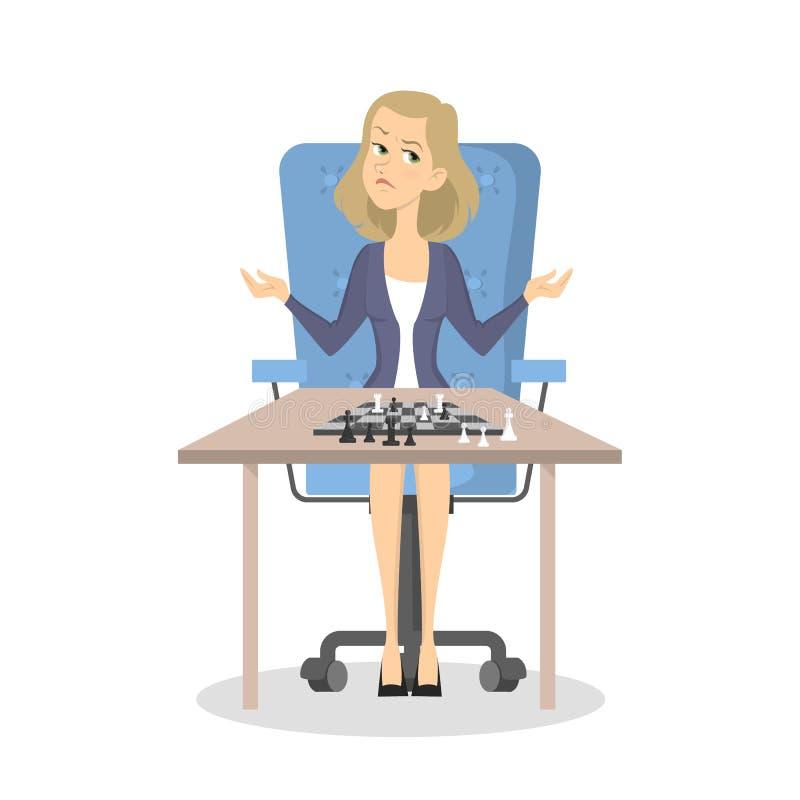 Mujer de negocios que pierde en juego de ajedrez libre illustration