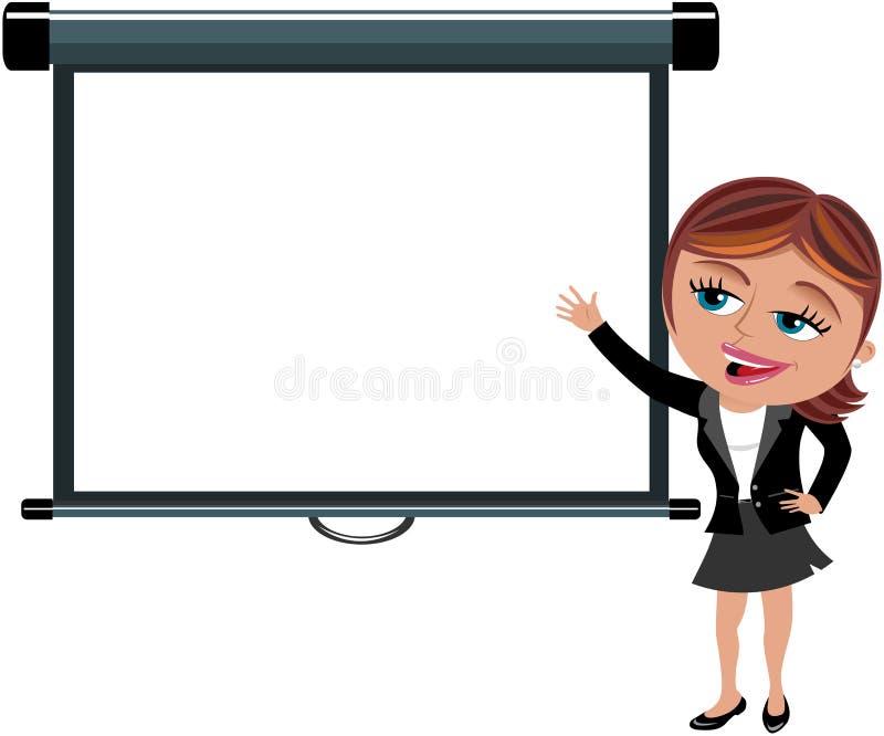 Mujer de negocios que presenta la pantalla de proyector en blanco ilustración del vector