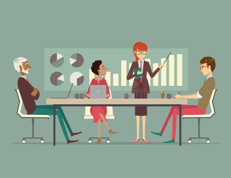 Mujer de negocios que presenta una carta de crecimiento en una reunión de negocios ilustración del vector