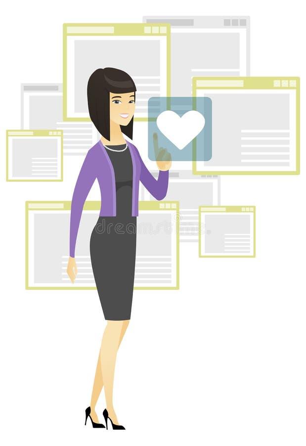 Mujer de negocios que presiona el botón del web con el corazón ilustración del vector