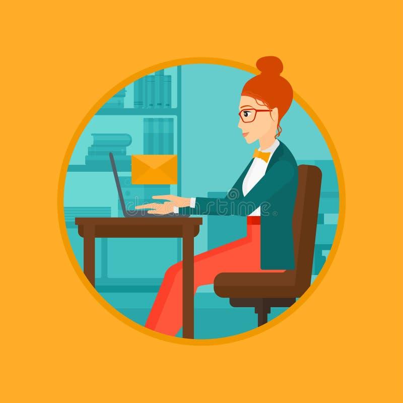 Mujer de negocios que recibe o que envía el correo electrónico stock de ilustración