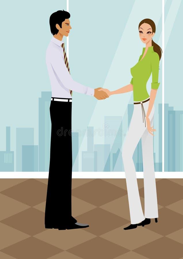 mujer de negocios que sacude las manos con un hombre en oficina libre illustration