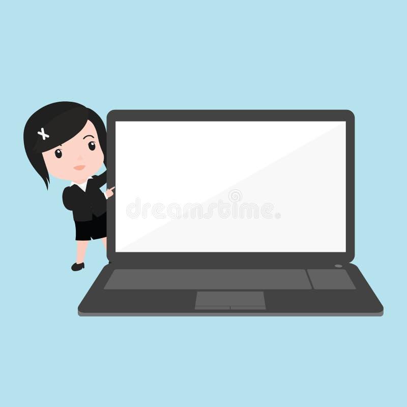 Mujer de negocios que señala a la exhibición del ordenador portátil, historieta ilustración del vector