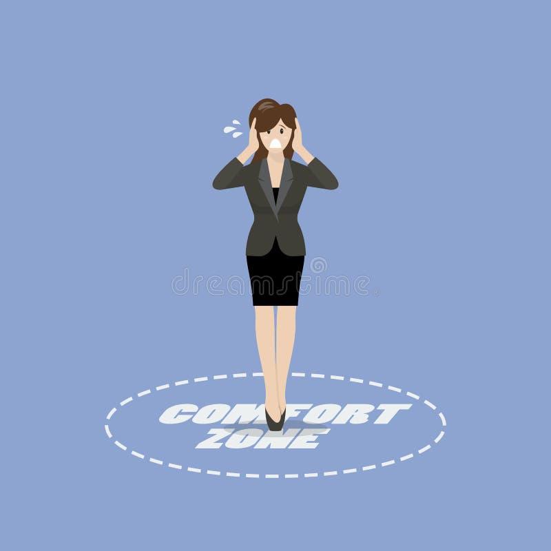 Mujer de negocios que se coloca en zona de comodidad libre illustration