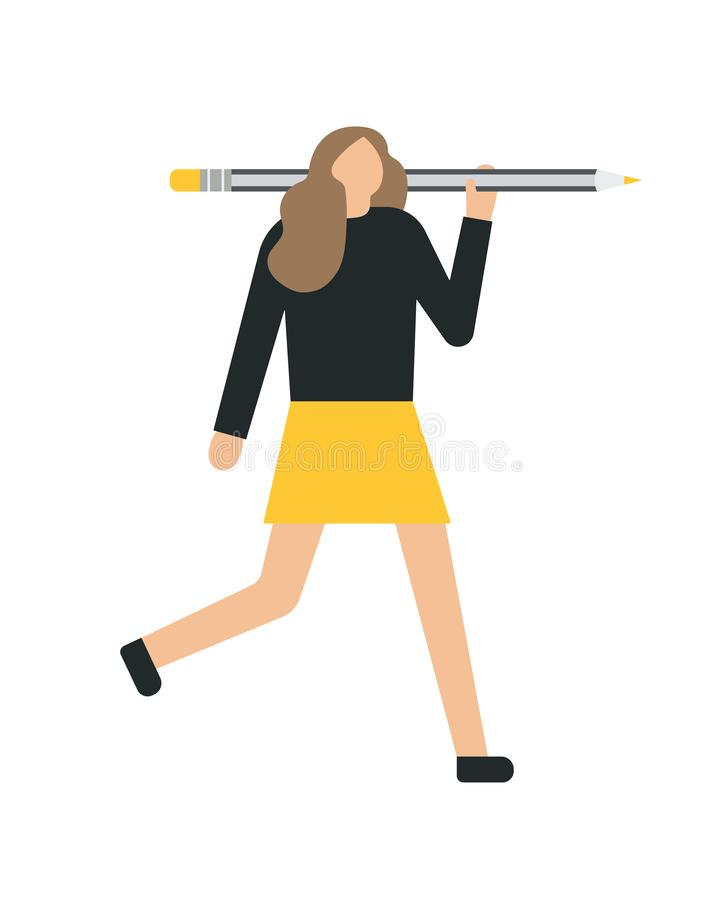 Mujer de negocios que se sostiene, el mostrar, dando un lápiz Estilo plano libre illustration