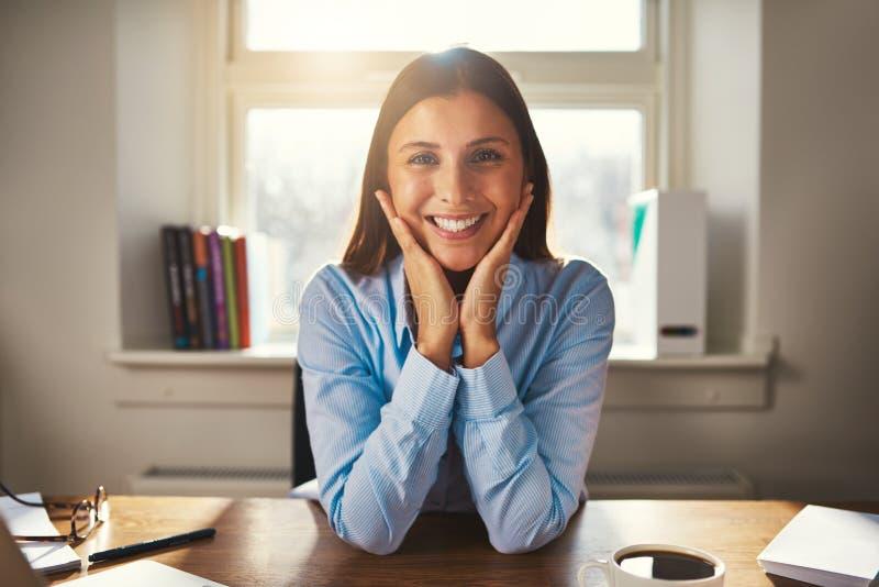 Mujer de negocios que sonríe en la cámara fotografía de archivo