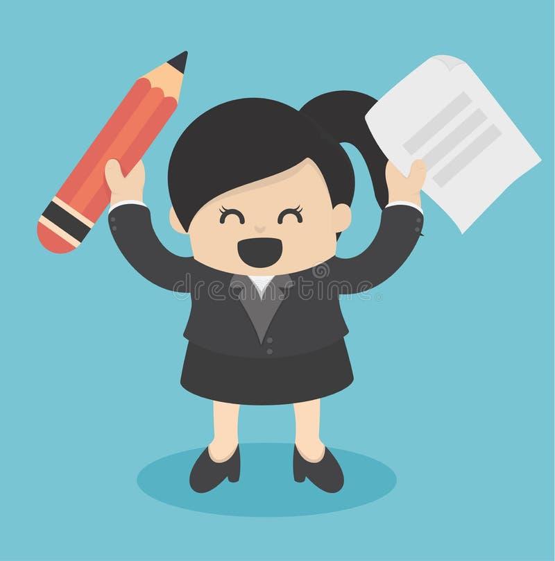 Mujer de negocios que sostiene el lápiz y el papel stock de ilustración