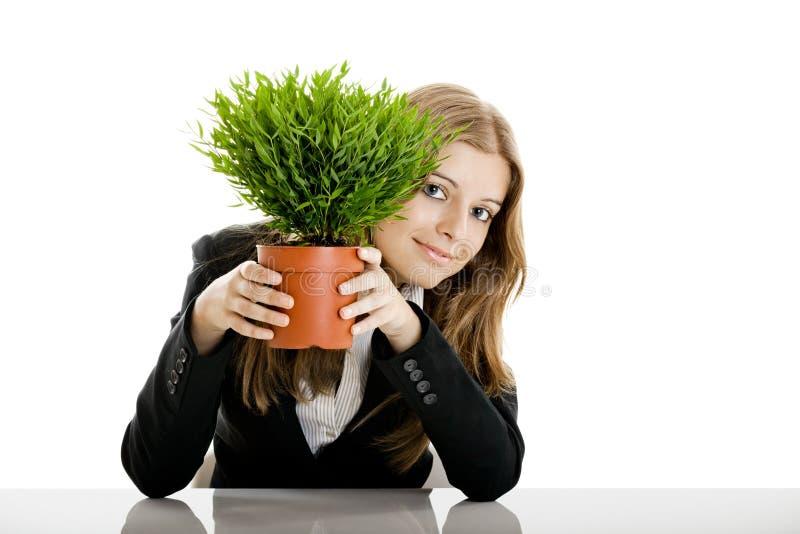 Mujer de negocios que sostiene un florero con una planta fotos de archivo libres de regalías