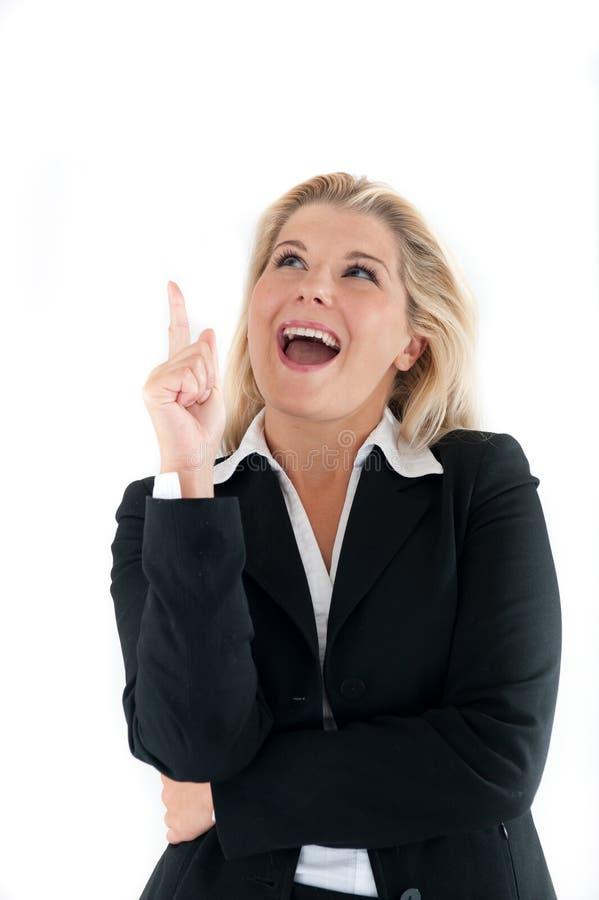 Mujer de negocios que tiene una idea imagenes de archivo