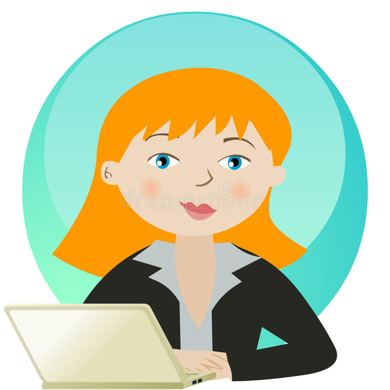 Mujer de negocios que trabaja con la computadora portátil libre illustration
