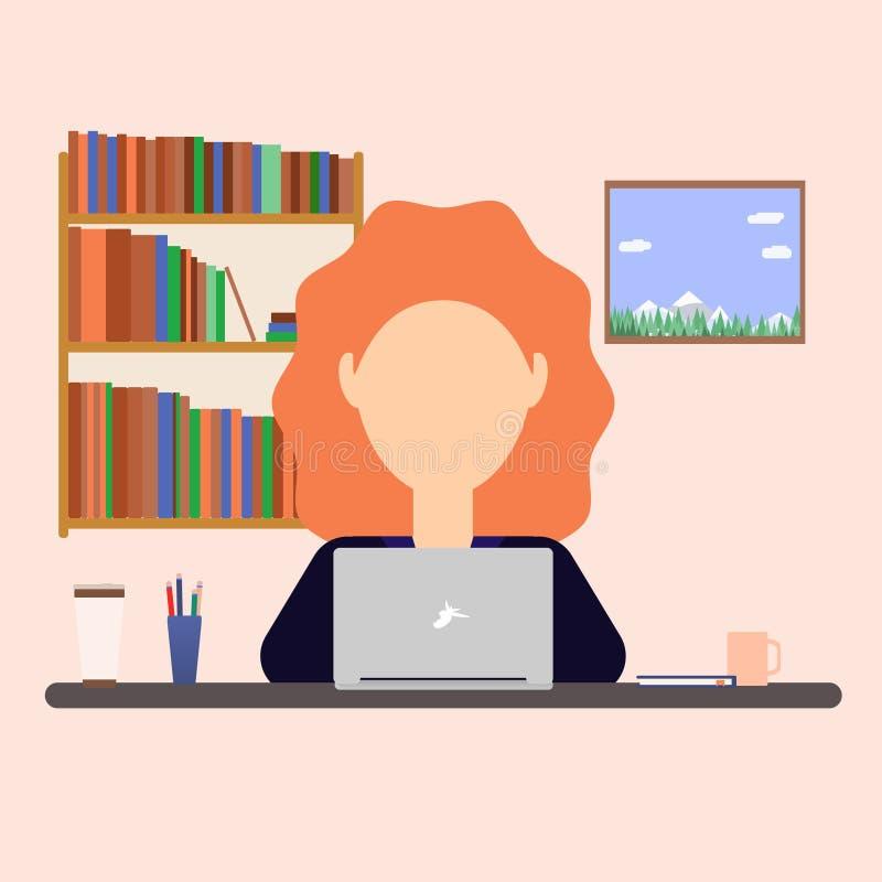 Mujer de negocios que trabaja en un ordenador portátil en la tabla libre illustration