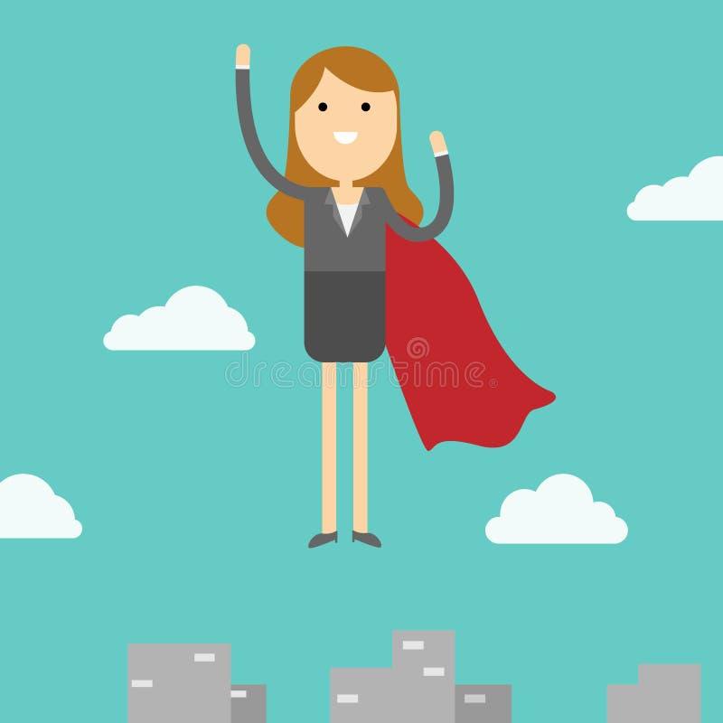Mujer de negocios que vuela al cielo Concepto del super héroe del negocio foto de archivo
