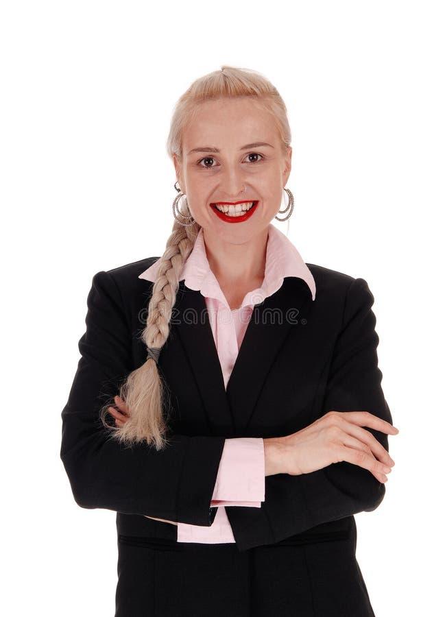 Mujer de negocios sonriente con el pelo de la trenza fotos de archivo libres de regalías