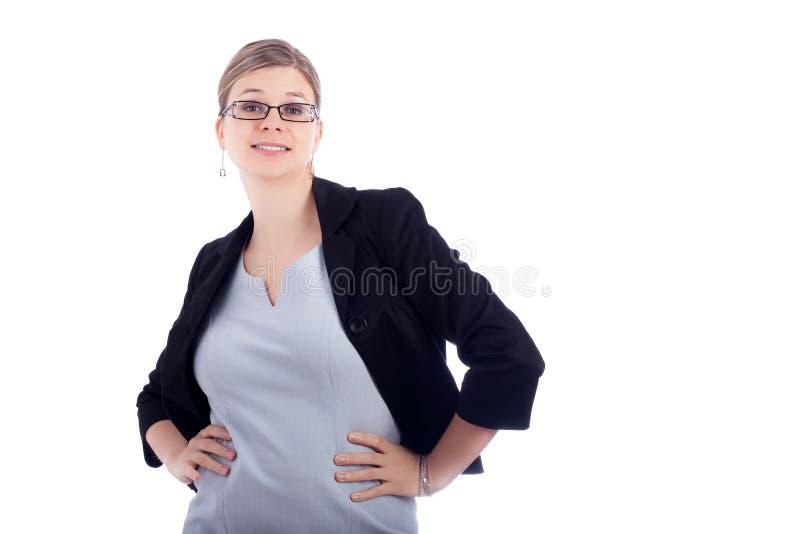 Mujer de negocios sonriente divertida imagen de archivo libre de regalías