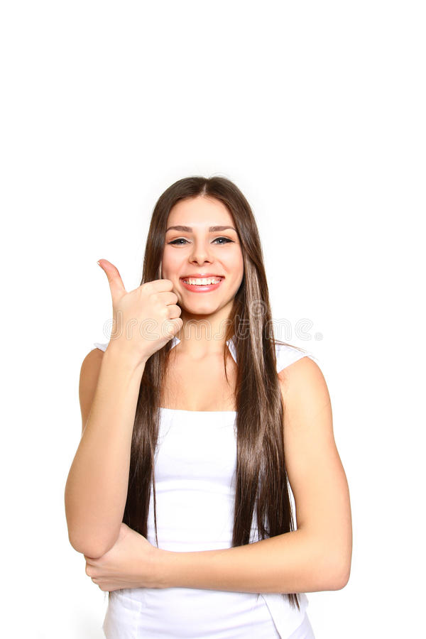 Mujer de negocios sonriente hermosa que se opone al backgrou blanco fotos de archivo