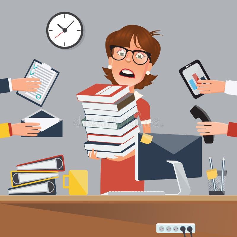 Mujer de negocios subrayada con los documentos en oficina libre illustration