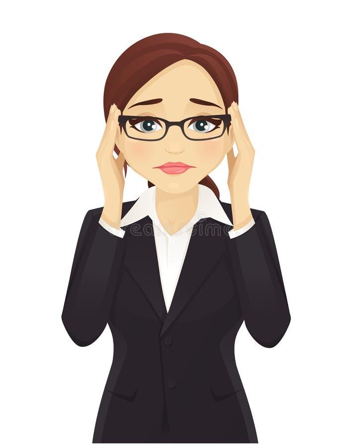 Mujer de negocios tensionada ilustración del vector