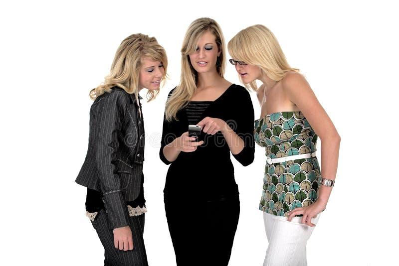 Mujer de negocios tres en el teléfono fotos de archivo