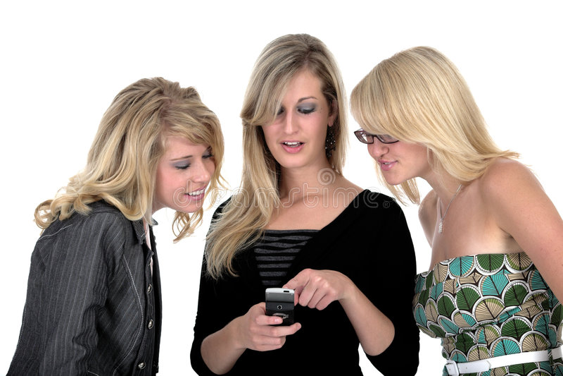 Mujer de negocios tres en el teléfono 2 fotografía de archivo libre de regalías