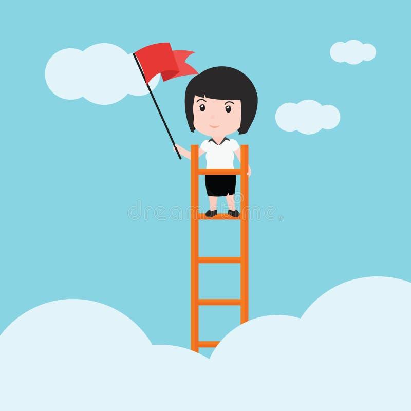 Mujer de negocios, una escalera corporativa de éxito stock de ilustración
