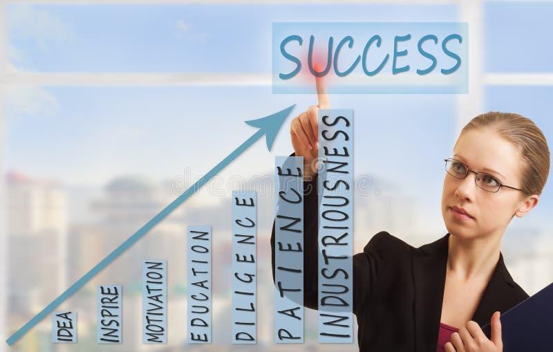 Mujer de negocios y concepto de éxito imagen de archivo libre de regalías