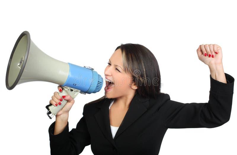 Mujer de negocios y megáfono foto de archivo