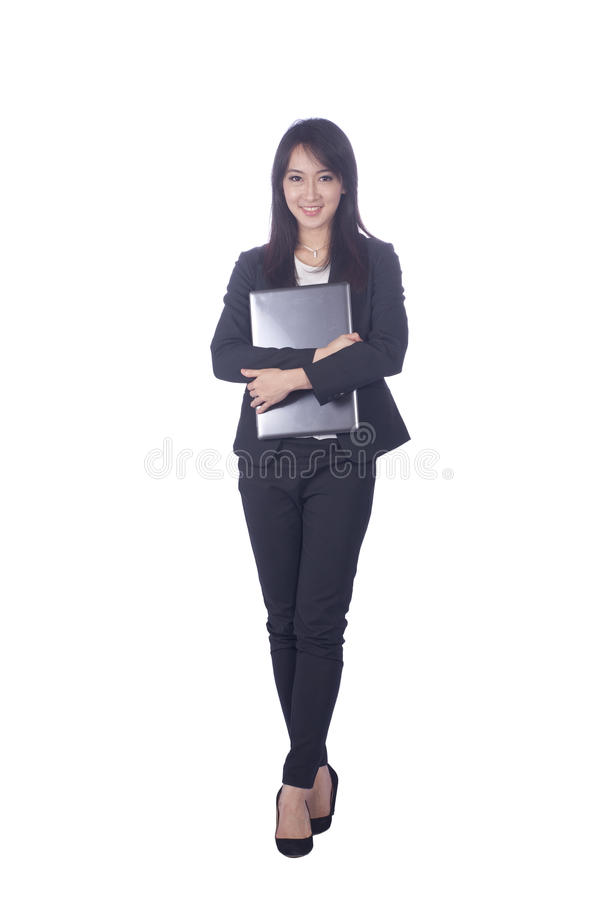 Mujer de negocios y ordenador portátil fotos de archivo