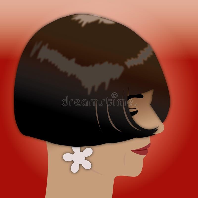 Mujer de negros del pelo stock de ilustración