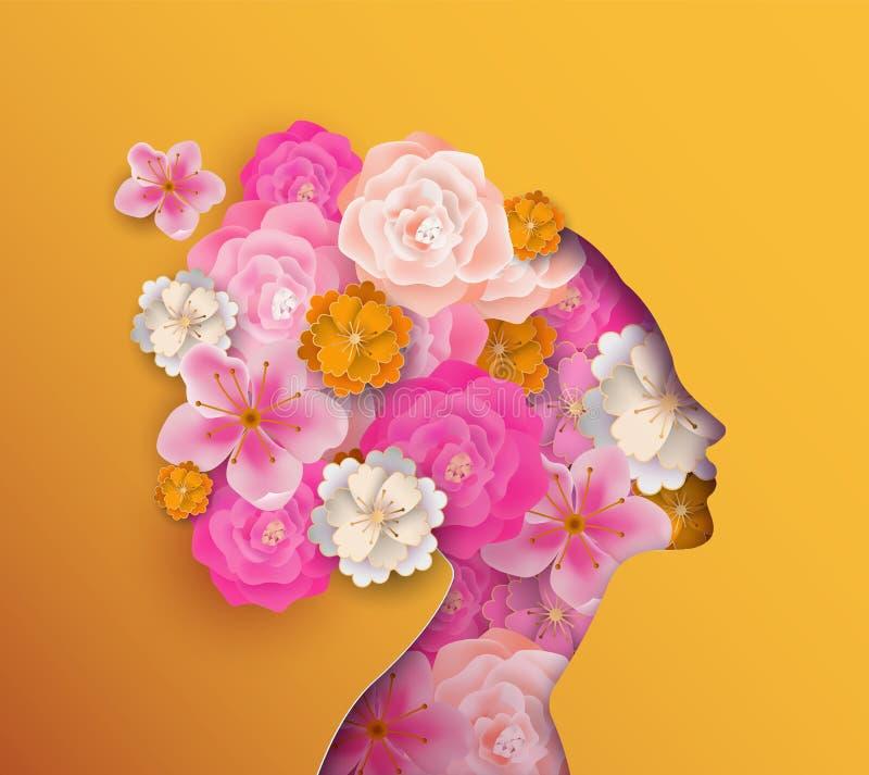 Mujer de Papercut con las flores rosadas de la primavera stock de ilustración
