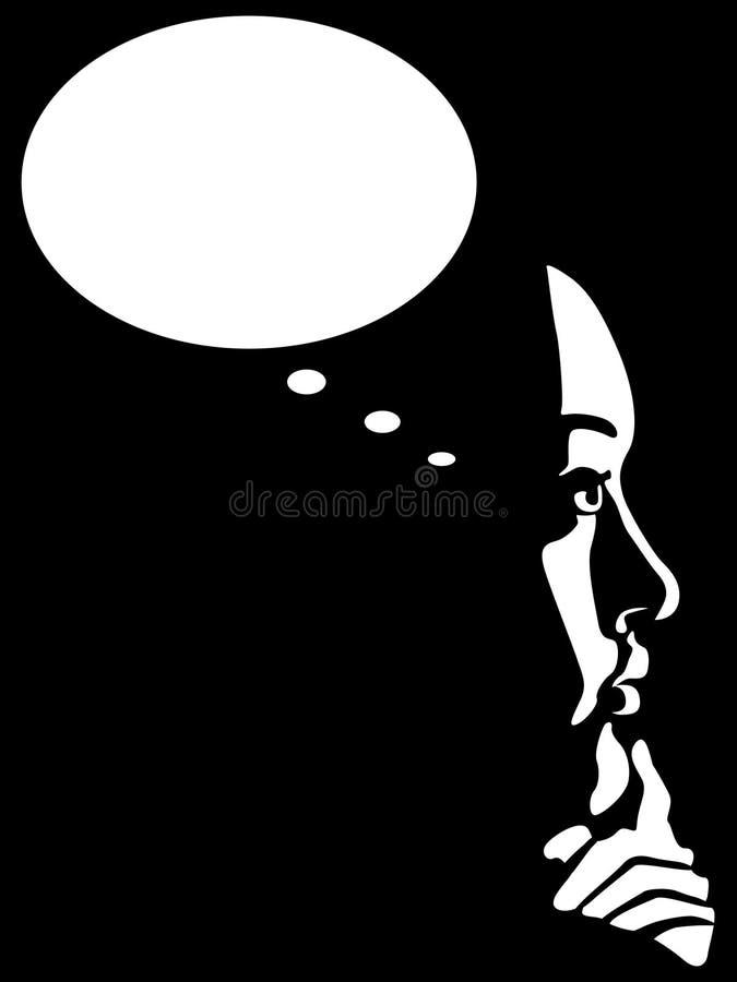 Mujer de pensamiento ilustración del vector