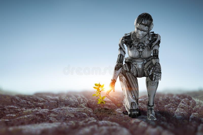 Mujer de plata del Cyborg que se sienta en una rodilla y sonrisa foto de archivo libre de regalías