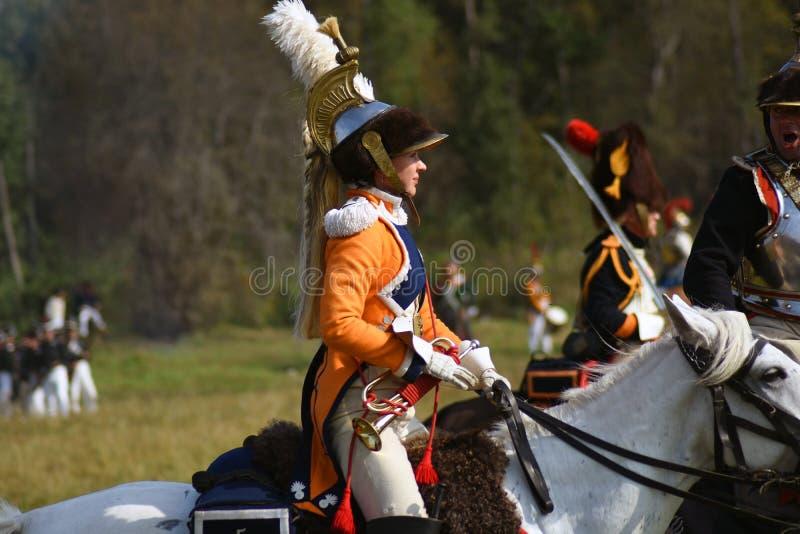 Mujer de Reenactor en la reconstrucci?n hist?rica de la batalla de Borodino en Rusia foto de archivo