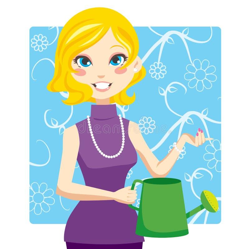 Mujer de riego stock de ilustración