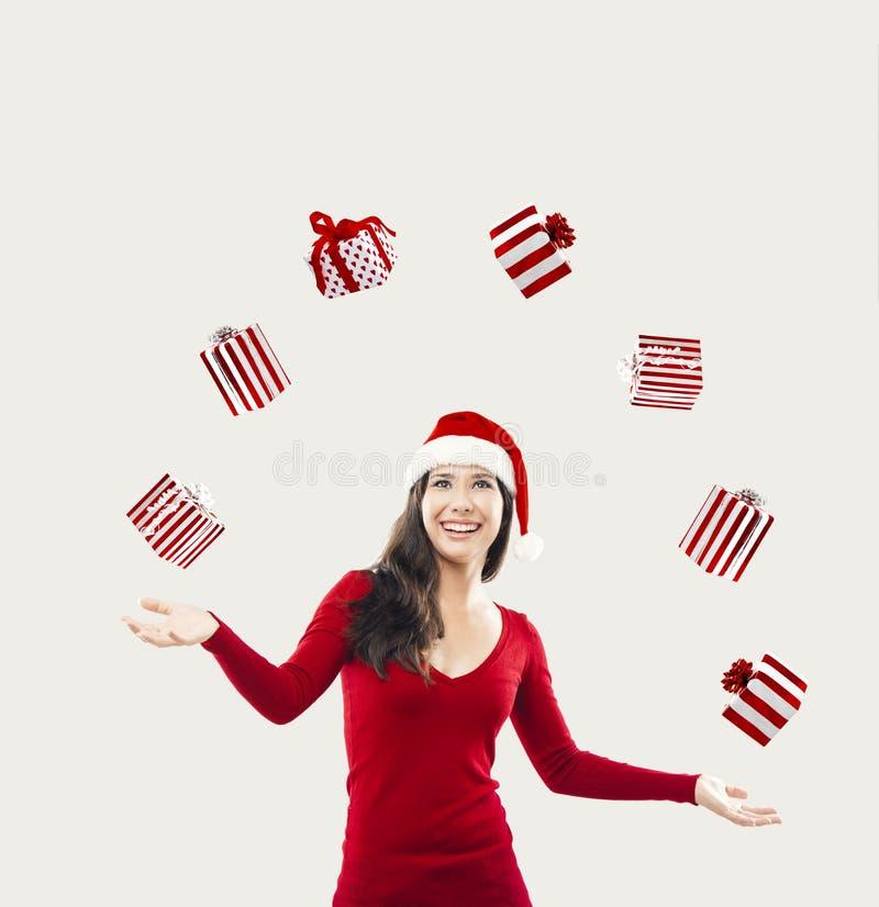 Mujer de santa de la feliz Navidad imagen de archivo