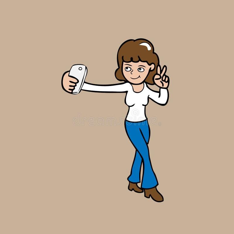 Mujer de Selfie ilustración del vector