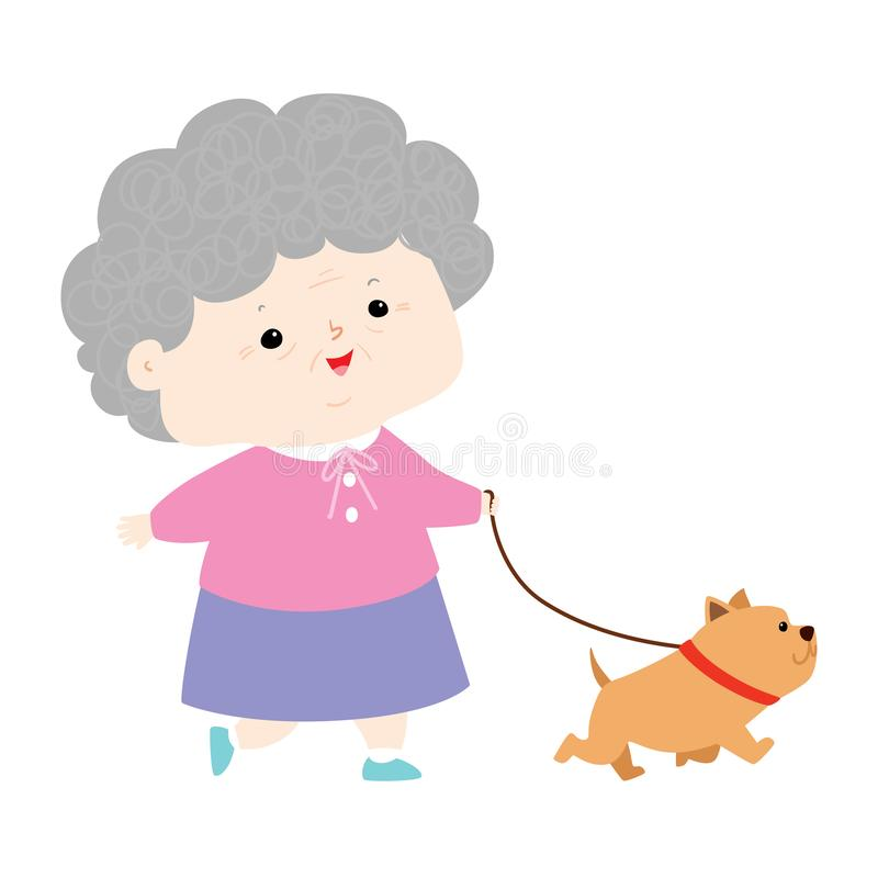 Mujer de Senoir que camina con vector del perro fotos de archivo