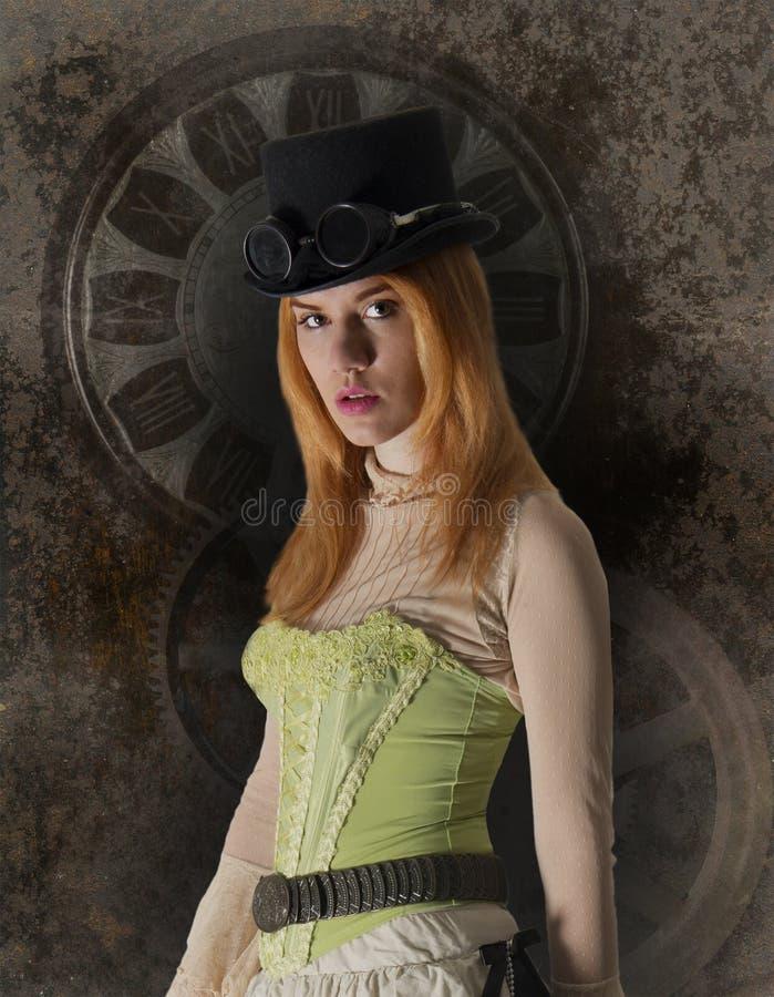 Mujer de Steampunk, muchacha, fondo retro foto de archivo libre de regalías