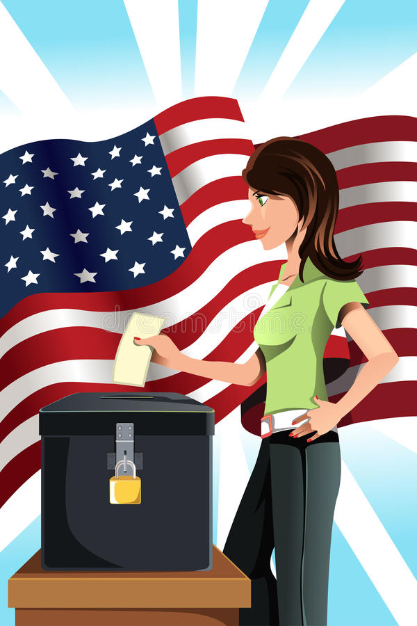 Mujer de votación stock de ilustración